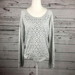 Splendid Heather Gray Eyelet Lace Sweatshirt